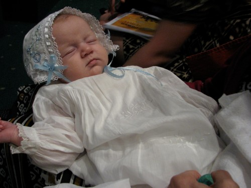 Baby Girl in her Great-Grandfather's Baptismal Gown and special bonnet from my wedding hanky!