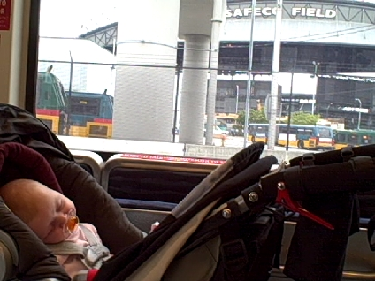 On the light rail in front of Safeco Field